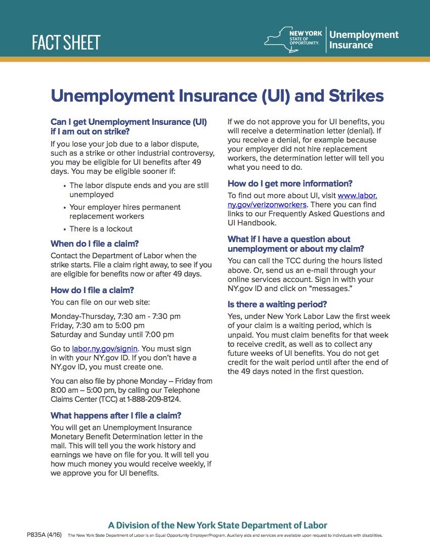 Nys Unemployment Insurance Fact Sheet Cwa 1109